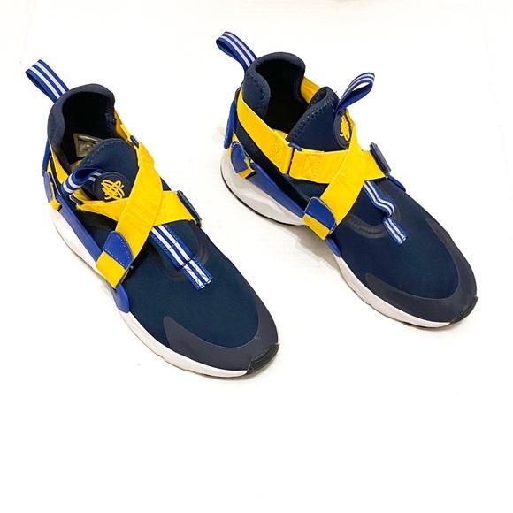 Nike Navy and Yellow Crisscross Huarache Sneakers